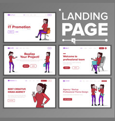 modern landing page concept line woman vector image