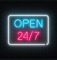 Neon open 24 hours 7 days a week sign in vector