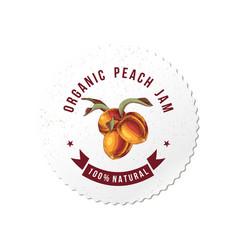 organic peach jam round emblem vector image