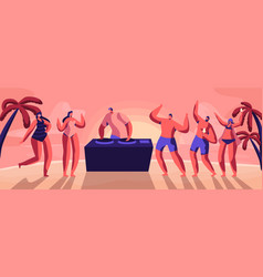 people teenagers dancing and drinking cocktails vector image