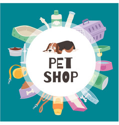 petshop circle banner contains cute puppy dog vector image