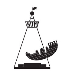 Pirate ship ride silhouette vector
