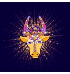 Pongal floral shiny star with cow vector