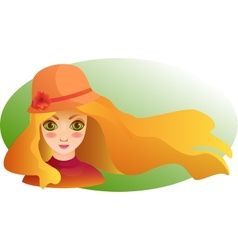 Portrait of Beutiful girl with streaming hair vector