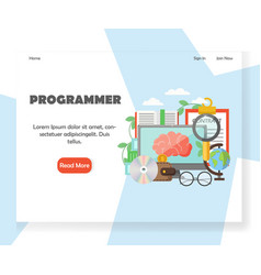 Programmer website landing page design vector