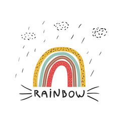 rainbow and rain print for t-shirt vector image