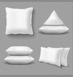 realistic white comfortable pillows home cushions vector image