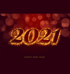 Red 2021 sparkles happy new year background design vector