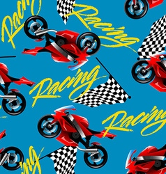 Red motorcycle racing with checkered flag seamless vector