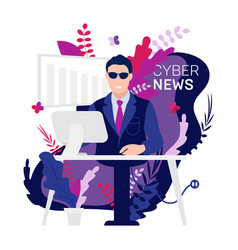 Robot android breaking hot news anchor or cyber vector