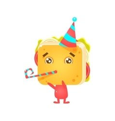Sandwich Character On Birthday Party vector