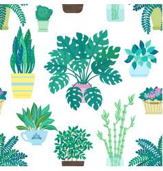 Seamless pattern decorative houseplants vector