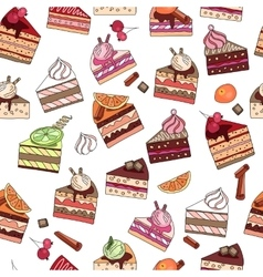 Seamless pattern with fruit cake slices Different vector image