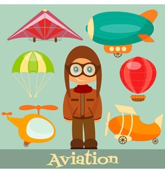 Set of Air Vehicles Airman in Uniform vector