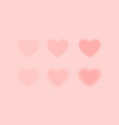 Set pink blurred hearts vector