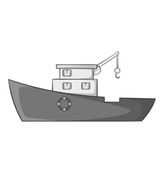 Ship for catching fish icon gray monochrome style vector