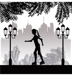 silhouette girl with roller skate park twon vector image