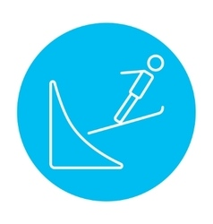 Ski jumping line icon vector image