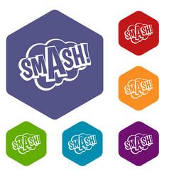 Smash comic book bubble text icons set hexagon vector