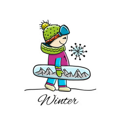 snowboarder sketch for your design vector image