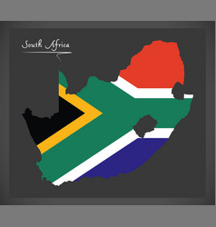 South africa map with national flag vector