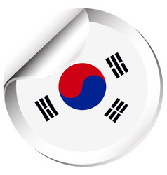 Sticker design for flag of south korea vector