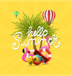 summer time banner design and colorful beach vector image