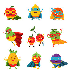 Superheroes fruits in different costumes set of vector