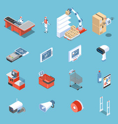 Supermarket of future isometric icons vector