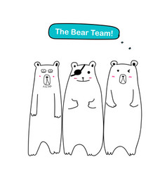 the bear team set of cute bear vector image