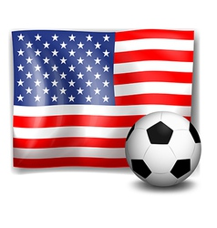 The flag of America with a soccer ball vector image