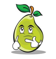 Thinking face pear character cartoon vector