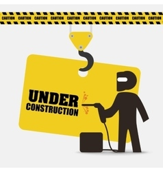 Under construction indusrtail worker helmet vector