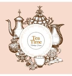 Vintage Tea Frame vector