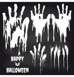White handprints on chalkboard for halloween vector