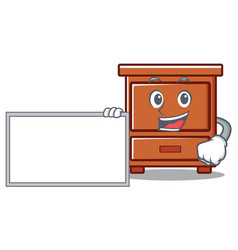With board wooden drawer character cartoon vector