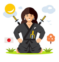 woman ninja flat style colorful cartoon vector image