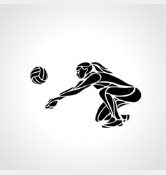 Woman volleyball player silhouette passing ball vector