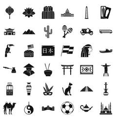 world travel icons set simple style vector image