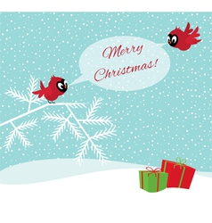 Birds in winter forest wish Merry Christmas vector image vector image