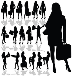 business woman with a bag black silhouette vector image vector image
