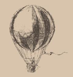 engravings airship balloon style hand drawn vector image