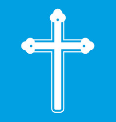 Holy cross icon white vector
