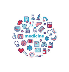 medicine concept with colorful line icons isolated vector image vector image