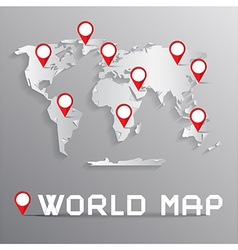 Paper cut world map with bent corners on grey vector