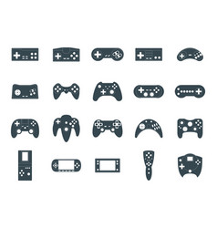 cartoon silhouette black gamepad icon set vector image vector image