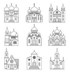 church linear icons on white background vector image vector image