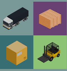 delivery logistics and transportation icons set vector image vector image
