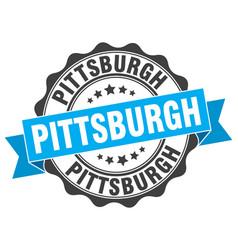 pittsburgh round ribbon seal vector image vector image