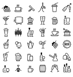 beverages line icons vector image